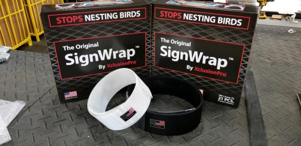 Sign Wrap bird deterrent